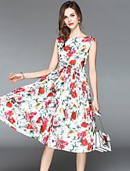 povoljno -Žene Ulični šik A kroj / Swing kroj Haljina - Print, Cvjetni print Do koljena