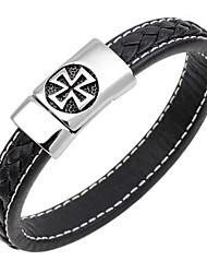 cheap -Men's Bangles / Leather Bracelet - Leather Cross Classic, Fashion Bracelet Dark Blue / Coffee / Brown For Gift / Work