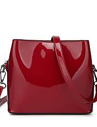baratos -Mulheres Bolsas PU Leather Bolsa de Ombro Ziper Azul / Preto / Vermelho
