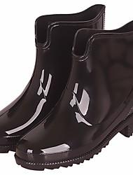 Недорогие -Жен. Обувь КожаПВХ Весна Резиновые сапоги Ботинки На низком каблуке Черный / Темно-синий / Вино