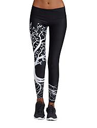 preiswerte -Damen Enge Laufhosen - Weiß, Schwarz Sport Geometrisch Strumpfhosen / Lange Radhose / Leggins / Unten Sportkleidung Schnelles Trocknung,