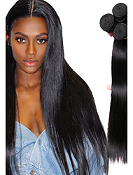 cheap -Mongolian Hair Straight Natural Color Hair Weaves / Bundle Hair / Human Hair Extensions 4 Bundles Human Hair Weaves Soft / Classic / Hot Sale Natural Black Human Hair Extensions Women's