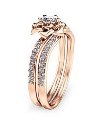 Недорогие -Цирконий Обручальное кольцо - Медь, Позолоченное розовым золотом Цветы Дамы, Винтаж, Праздник, Мода, Крупногабаритные Бижутерия Светло-коричневый Назначение