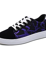 baratos -Mulheres Sapatos Lona Verão Conforto Tênis Sem Salto Dedo Fechado para Ao ar livre Preto / Roxo / Branco / Preto