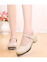 cheap -Women's Tap Shoes Cowhide Heel Chunky Heel Dance Shoes Beige / Performance / Practice