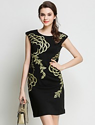 preiswerte -Damen Retro / Boho Das kleine Schwarze Kleid - Spitze / Gitter / Quaste, Blumen / Geometrisch / Verziert Übers Knie