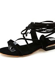 baratos -Mulheres Sapatos Pele Nobuck Verão Tira no Tornozelo / Rasteirinhas Sandálias Sem Salto Dedo Aberto Laço para Ao ar livre Preto / Bege /