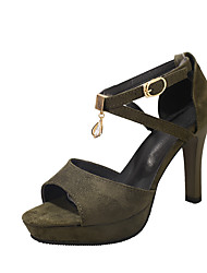 baratos -Mulheres Sapatos spandex / Sintético Verão Conforto Sandálias Caminhada Salto Agulha Dedo Aberto para Escritório e Carreira Preto / Verde