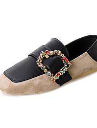 baratos -Mulheres Sapatos Couro Ecológico Primavera Conforto Mocassins e Slip-Ons Sem Salto para Ao ar livre Preto / Bege