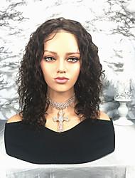 billige -Remy hår Paryk Brasiliansk hår / Vand Bølge Bølget 130% Massefylde Mellemlængde Dame Blondeparykker af menneskehår