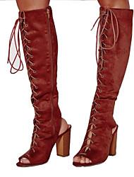 povoljno -Žene Cipele Nubuk koža Jesen Modne čizme Čizme Kockasta potpetica Peep Toe Čizme do koljena za Zabava i večer / Ured i karijera Crn /