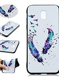 baratos -Capinha Para Samsung Galaxy J5 (2017) / J3 (2017) Estampada Capa traseira Penas Macia TPU para J5 (2017) / J5 (2016) / J3 (2017)