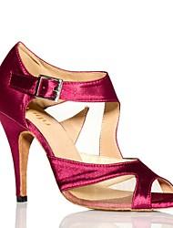 Недорогие -Жен. Обувь для латины Сатин Кроссовки Цветы из сатина Кубинский каблук Танцевальная обувь Черный / Лиловый / Тренировочные