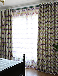 cheap -Blackout Curtains Drapes Living Room Stripe Polyester Blend Printed