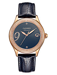 cheap -CADISEN Women's Mechanical Watch Japanese 50 m Water Resistant / Water Proof Calendar / date / day New Design Genuine Leather Band Analog Fashion Elegant White / Blue / Red - White Fuchsia Blue