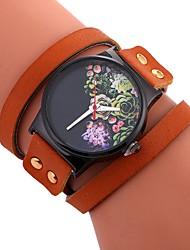 baratos -Mulheres Bracele Relógio Quartzo Relógio Casual Mostrador Grande PU Banda Analógico Flor Fashion Preta / Branco / Vermelho - Bege Marron Vermelho Um ano Ciclo de Vida da Bateria