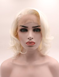 abordables -Peluca Lace Front Sintéticas Ondulado Corte a capas Pelo sintético curling Blanco Peluca Mujer Corta Encaje Frontal / Sí