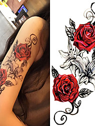 abordables -3 pcs Tatouages Autocollants Tatouages temporaires Séries de fleur / Série romantique Arts du Corps Caisse / épaule / Jambe