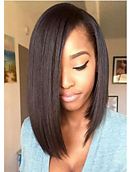 cheap -Synthetic Wig Straight Middle Part 150% Density Synthetic Hair Adjustable / Heat Resistant / Natural Hairline Black Wig Women's Short Lace Front / Yes / For Black Women