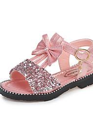 abordables -Chica Zapatos PU Verano Confort / Zapatos para niña florista Sandalias Paseo Pajarita / Lentejuela / Cinta Adhesiva para Niños Dorado /