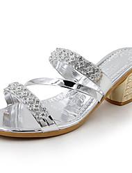 Недорогие -Жен. Обувь Полиуретан Лето Удобная обувь Сандалии На толстом каблуке Круглый носок Золотой / Серебряный