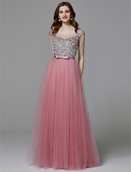 cheap -A-Line Illusion Neck Floor Length Satin / Tulle Sparkle & Shine Prom / Formal Evening Dress with Sequin by TS Couture®