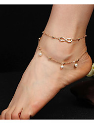 cheap -Pearl Anklet - Imitation Pearl Infinity Double Layered Gold / Silver For Daily / Women's