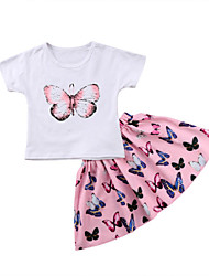 cheap -Toddler Girls' Butterfly Solid Colored / Print Short Sleeve Clothing Set