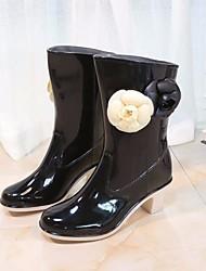 Недорогие -Жен. Обувь КожаПВХ Осень Резиновые сапоги Ботинки На толстом каблуке Сапоги до середины икры Черный / Бежевый
