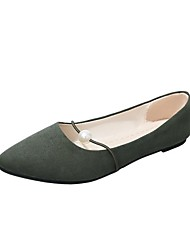 cheap -Women's Shoes Nubuck leather Summer / Fall Ballerina Flats Flat Heel Round Toe Imitation Pearl Brown / Pink / Dark Green