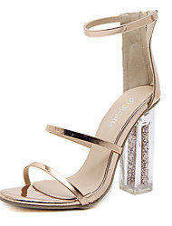 baratos -Mulheres Sapatos Couro Ecológico Primavera Verão Tira no Tornozelo / Plataforma Básica Sandálias Salto Robusto Dedo Aberto Presilha para