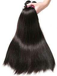 Недорогие -3 Связки Малазийские волосы Прямой 8A Натуральные волосы Удлинитель Пучок волос One Pack Solution 8-28 дюймовый Нейтральный Естественный цвет Ткет человеческих волос