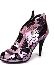 baratos -Mulheres Sapatos Courino Verão Conforto Sandálias Salto Agulha Dedo Aberto Dourado / Roxo / Festas & Noite