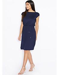 baratos -Mulheres Sofisticado Moda de Rua Reto Bainha Camiseta Vestido - Frente Única Franzido, Sólido Acima do Joelho