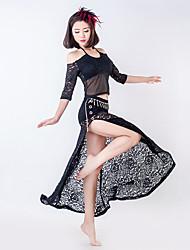 baratos -Dança do Ventre Roupa Mulheres Treino Renda Renda Cristal / Strass Manga 3/4 Saias Blusa