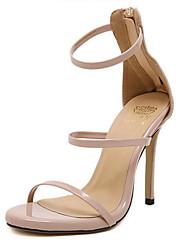 baratos -Mulheres Sapatos Couro Ecológico Primavera Verão Tira no Tornozelo / D'Orsay Sandálias Salto Agulha Dedo Aberto Presilha para Escritório