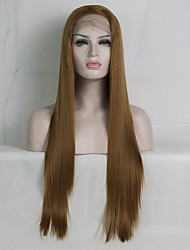 cheap -Synthetic Lace Front Wig Straight Golden Layered Haircut Synthetic Hair Life / Party / Best Quality Golden Wig Women's Long Lace Front