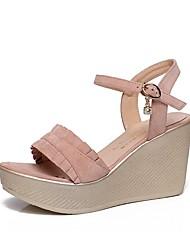 baratos -Mulheres Sapatos Flocagem Verão Chanel Sandálias Salto Plataforma Dedo Aberto Pedrarias / Botão Preto / Rosa claro / Festas & Noite
