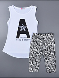 cheap -Kids / Toddler Girls' Black & White Print / Leopard Sleeveless Clothing Set