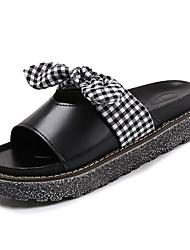 cheap -Women's Shoes PU Spring Summer Comfort Slippers & Flip-Flops Flat Heel Bowknot for Casual Black Beige
