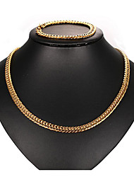 cheap -Jewelry Set - Basic, European, Cool Include Chain Bracelet / Chain Necklace Gold For Daily