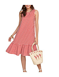 cheap -Women's Daily / Holiday Simple / Basic Cotton / Polyester A Line Dress - Striped Ruffle / Patchwork Round Neck / Off Shoulder / Summer