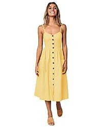 economico -Per donna Moda città Cotone Taglia piccola Linea A Vestito Tinta unita Con bretelline Medio / Estate