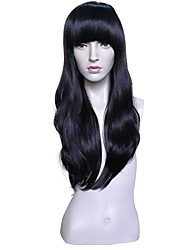 cheap -Wig Accessories Wavy Layered Haircut Synthetic Hair Anime / Adjustable / Heat Resistant Black Wig Women's Long Capless / Natural Hairline