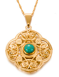 cheap -Women's Turquoise Pendant Necklace  -  Gold Plated Vintage, Bohemian Gold 7#5#1 cm Necklace For Party / Evening