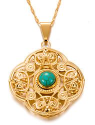 economico -Per donna Turchese Geometrica Collane con ciondolo - Placcato in oro Vintage, Stile Boho, Boho Oro 7#5#1 cm Collana Per Party / serata