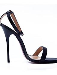 abordables -Femme Chaussures Polyuréthane Eté Escarpin Basique Sandales Talon Aiguille Bout rond Boucle Blanc / Noir / Rouge