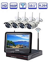 cheap -STRONGSHINE@ 4Ch NVR Build-in 10.1 Inch LCD Network Video Recorder Wireless Surveillance Security Stystem with 1.3MP IR Waterproof WIFI IP Cameras