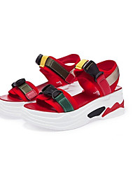 cheap -Women's Shoes Tulle Summer Jelly Shoes Sandals Flat Heel Round Toe Black / Red