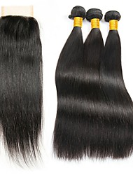 cheap -3 Bundles with Closure Indian Hair Straight Human Hair Hair Weft with Closure Human Hair Weaves Gift / New Arrival / Hot Sale Natural Color Human Hair Extensions Women's